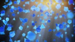 Blauwe geometrische vormen die in lichte stralen vliegen Abstracte 3D geeft terug Royalty-vrije Stock Foto's
