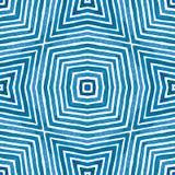 Blauwe Geometrische Waterverf Leuk naadloos patroon Hand getrokken strepen Borsteltextuur Het tevredenstellen Chevro stock afbeelding