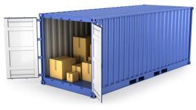 Blauwe geopende container met karton binnen dozen royalty-vrije illustratie