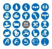 Blauwe Geplaatste badkamerspictogrammen Stock Afbeeldingen