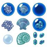 Blauwe geplaatste bellen Stock Fotografie