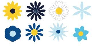 Blauwe geplaatste bloemen Stock Afbeeldingen