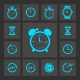 Blauwe geplaatste klokpictogrammen Royalty-vrije Stock Afbeelding
