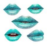 Blauwe geplaatste lippen Royalty-vrije Stock Afbeelding