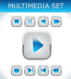 Blauwe geplaatste multimedia Stock Foto