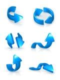 Blauwe geplaatste pijlen Stock Foto's
