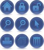 Blauwe geplaatste Webpictogrammen Stock Afbeeldingen
