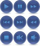 Blauwe geplaatste Webpictogrammen Stock Foto