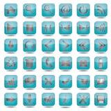 Blauwe geplaatste Webpictogrammen Royalty-vrije Stock Afbeelding