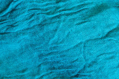 Blauwe gerimpelde stoffenclose-up Royalty-vrije Stock Fotografie