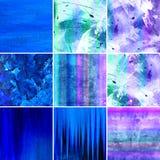 Blauwe geschilderde canvasinzameling Stock Afbeeldingen