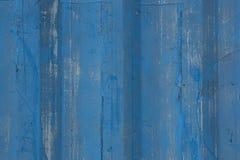 Blauwe geschilderde houten achtergrond Stock Foto