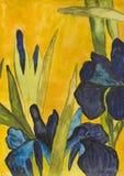Blauwe geschilderde irissen, Stock Afbeelding