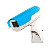 Blauwe geïsoleerde veiligheidscamera Stock Foto's