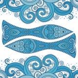 Blauwe gestileerde vissen Gedetailleerde vector vector illustratie