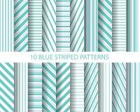 20 blauwe gestreepte patronen royalty-vrije illustratie