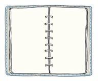 Blauwe getrokken notitieboekje uitstekende leuke hand Royalty-vrije Stock Foto