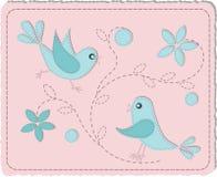 Blauwe gewatteerde vogels Royalty-vrije Stock Afbeeldingen