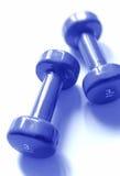 Blauwe gewichten Stock Afbeeldingen