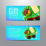 Blauwe giftbon met de zomersamenstelling Royalty-vrije Stock Fotografie