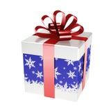 Blauwe giftdoos met rood lint Royalty-vrije Stock Foto