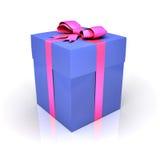 Blauwe giftdoos met roze lint Stock Foto
