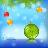Blauwe glanzende achtergrond met Kerstmisballen Royalty-vrije Stock Afbeelding