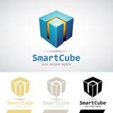 Blauwe Glanzende 3d Kubus Logo Icon Stock Foto