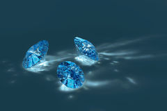 Blauwe glanzende diamanten Stock Fotografie