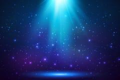 Blauwe glanzende hoogste magische lichte achtergrond Stock Foto