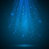 Blauwe glanzende magische lichte vectorachtergrond Royalty-vrije Stock Fotografie