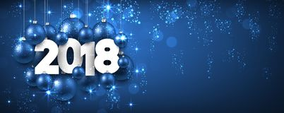 Blauwe glanzende 2018 Nieuwjaarbanner vector illustratie