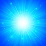 Blauwe glanzende vectorzonachtergrond Stock Foto