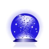 blauwe glasbol met dalingen van water Stock Foto's