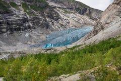 Blauwe gletsjer Nigardsbreen in Noorwegen stock foto
