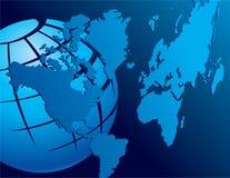 Blauwe globale achtergrond Stock Afbeeldingen