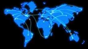 Blauwe gloeiende kaart van de wereld met vlak geanimeerde vliegtuigen vector illustratie
