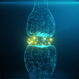 Blauwe gloeiende synaps Kunstmatig neuron in concept kunstmatige intelligentie Synaptische transmissielijnen van impulsen Stock Foto