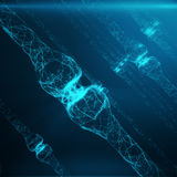 Blauwe gloeiende synaps Kunstmatig neuron in concept kunstmatige intelligentie Synaptische transmissielijnen van impulsen Stock Foto's