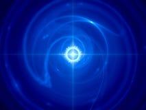 Blauwe gloeiende tijdmachine in ruimte Stock Afbeelding