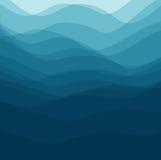 Blauwe golven als achtergrond zoals het overzees Royalty-vrije Stock Afbeeldingen