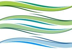 Blauwe golven en groen Royalty-vrije Stock Foto