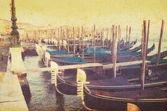 Blauwe gondels in het vierkant van San Marco in uitstekende toon Royalty-vrije Stock Afbeelding
