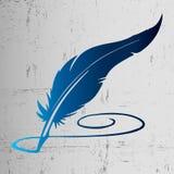 Blauwe gradiënt het schrijven pen op grungeachtergrond Royalty-vrije Stock Fotografie