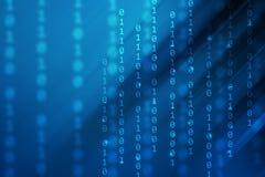 Blauwe gradiëntkleur met binaire code en streeplijn, technologieachtergrond royalty-vrije stock fotografie
