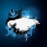 Blauwe graffiti met aërosol Stock Foto's