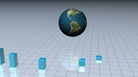 Blauwe grafiek met een wereldbol vector illustratie