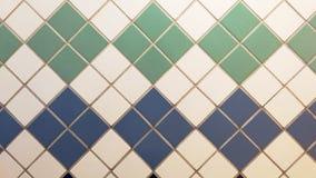 Blauwe, groene en witte echte tegels in een uitstekend patroon Stock Foto's