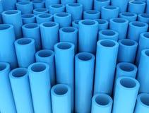 Blauwe groep plastic buizen Stock Foto's