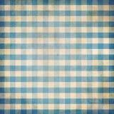 Blauwe grunge gecontroleerde het tafelkleedachtergrond van de gingangpicknick Stock Foto